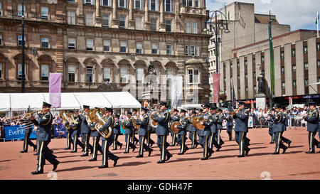 The Royal Air Force Band (UK) marching and performing in George Square, central Glasgow, as part of the Piping Live! - Stock Photo