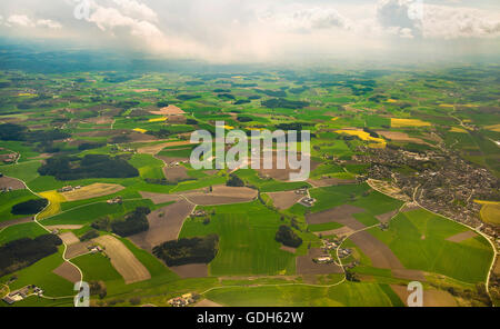 Aerial view, agricultural area, fields with small forests, near Munich, Bavaria, Germany - Stock Photo
