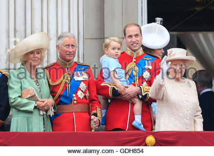 File photo dated 13/06/15 of (left to right) the Duchess of Cornwall, the Prince of Wales, Prince George, the Duke - Stock Photo