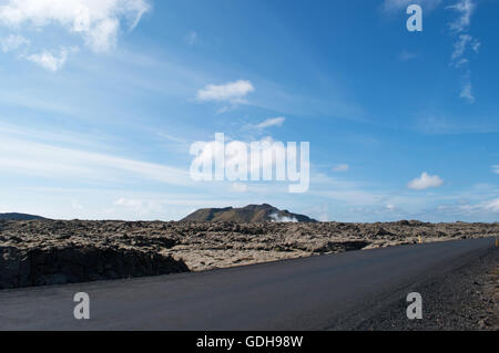 Iceland, Northern Europe: Icelandic landscape with lava fields of black rocks covered with a green carpet of moss - Stock Photo