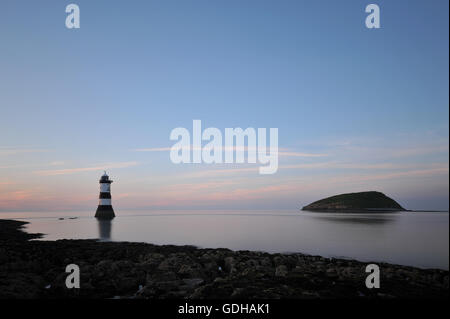 Trwyn Du Lighthouse; Anglesey - Stock Photo