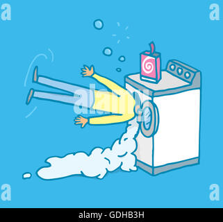 Cartoon illustration of a man with his head on a washing machine - Stock Photo