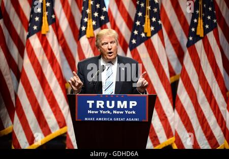 New York, NY, USA. 16th July, 2016. Donald Trump in attendance for Donald Trump Announces Governor Mike Pence as - Stock Photo