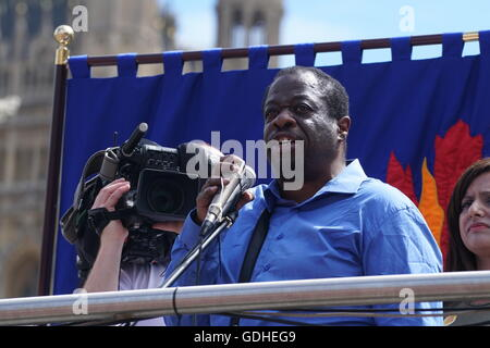 LONDON, UK - JULY 16: Speaker Wyman Bennett of the UAF at the demonstrations for JC4PM - Labour Bloc on the No More - Stock Photo