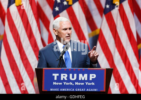 New York, USA. 16th July, 2016. Indiana Governor Mike Pence speaks during a Donald Trump's campaign event in New - Stock Photo