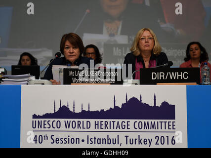 Istanbul, Turkey. 17th July, 2016. Chairperson of the 40th session of World Heritage Committee Lale Ulker (L) hosts - Stock Photo