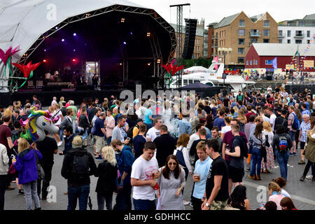 Bristol, UK. 16th July, 2016. Bristol Harbour Festival, the mostly free event started the Friday evening of 15 July - Stock Photo