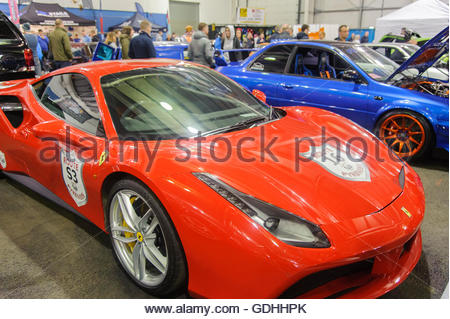 Edinburgh, UK. 17 July, 2016. A Ferrai in the indoor display. The Scottish Car Show held at the Royal Highland Showground, - Stock Photo