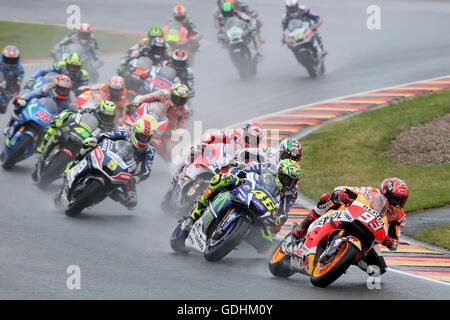 The Spanish MotoGP rider Marc Marquez from Repsol Honda Team leads and the Italian MotoGP rider Valentino Rossi - Stock Photo