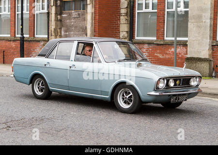 1968 Blue Ford Cortina; Tram Sunday, Fleetwood, Lancashire, UK. 17-07-2016. Vintage, classic, collectible, heritage, - Stock Photo