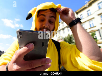 Prague, Czech Republic. 16th July, 2016. About 200 Pokemon Go location based app gamers meet at Prague's Wenceslas - Stock Photo