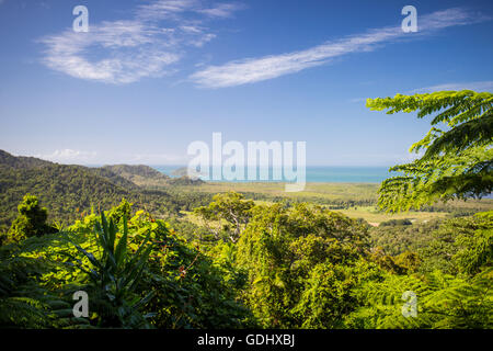 The view from Mount Alexandra lookout in the Daintree region towards the Great Barrier Reef and Coral Sea on a sunny - Stock Photo