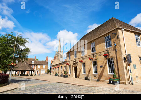 Market Place With The Former Post Office On The Right And The Buttercross On The Left Oakham Rutland East Midlands - Stock Photo