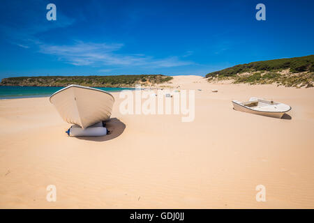 boat at bolonia beach a coastal village in the municipality of Tarifa in the Province of Cadiz in southern Spain. - Stock Photo