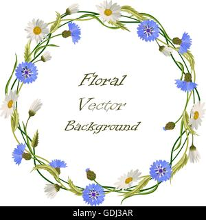 Wreath frame with wild flowers - Stock Photo
