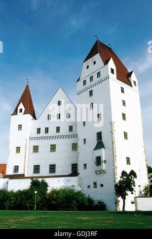 geography / travel, Germany, Bavaria, Ingolstadt, new castle, built 1417/1418 under Louis VII, Duke of Bavaria, - Stock Photo
