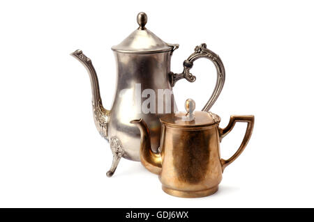 old coffee pots isolated on white background - Stock Photo