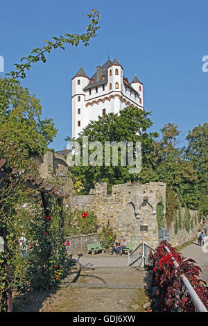 geography / travel, Germany, Hesse, Eltville on the Rhine, castles, electoral fortress at Rhine Promenade, built: - Stock Photo