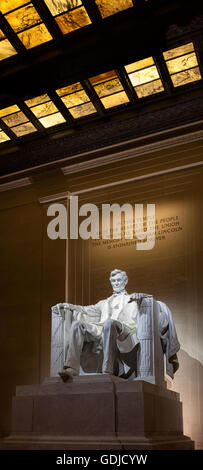 Statue of Abraham Lincoln  in the Lincoln Memorial in Washington DC - Stock Photo