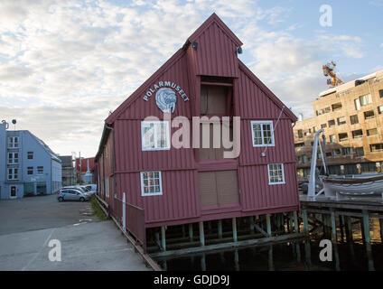 Historic wooden building housing the Polar Museum, Tromso, Norway - Stock Photo