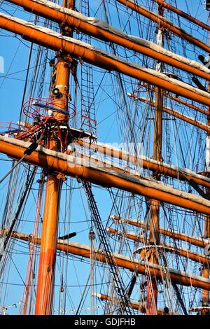 Tall ship  rigging mast - Stock Photo