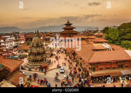 Sunset over  Patan Durbar Square in Nepal - Stock Photo