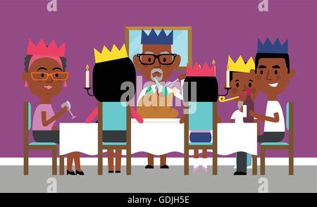 Illustration Of Extended Family Having Holiday Meal At Home - Stock Photo