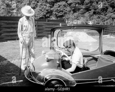 Elvis with his Messerschmitt Microcar, 1956 - Stock Photo