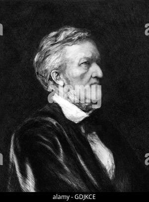 Richard Wagner. Portrait of the German composer, Wilhelm Richard Wagner (1813-1883). Etching by Hubert Herkomer, - Stock Photo