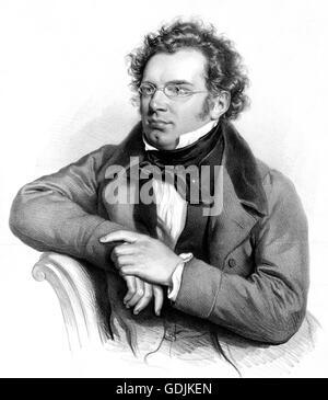 Franz Schubert. Portrait of the Austrian composer, Franz Peter Schubert (1797-1828). Lithograph by Josef Kriehuber, - Stock Photo