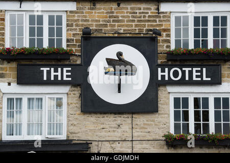 Black Swan Hotel, Helmsley, North Yorkshire - close-up of the sign outside this popular boutique hotel in the market - Stock Photo