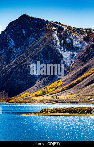 along California Highway 158 the June lake loop in the Eastern Sierra Nevada Mountains - Stock Photo