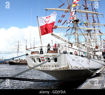 Polish tall ship Dar Młodzieży ('The Gift of Youth') at Delfsail Sailing Event, July 2016, Netherlands - Stock Photo