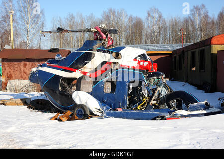 Aircraft - The remains of the crashed helicopter in the abandoned territory. - Stock Photo