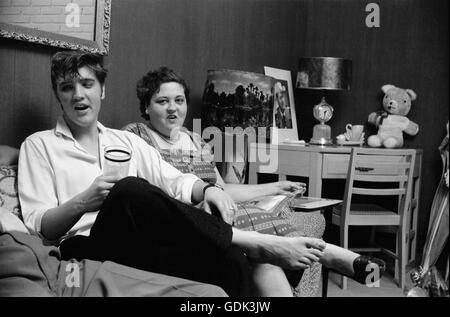 Elvis Presley with his mother Gladys - Stock Photo