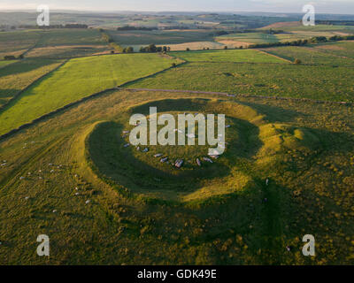 Aerial view of Arbor Low neolithic stone circle, Peak District, Derbyshire - Stock Photo