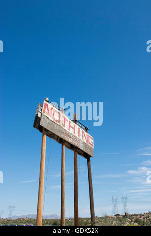 Town sign in the small abandoned settlement of Nothing, Arizona - Stock Photo