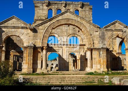 Church of Saint Simeon Stylites, northwest of Aleppo, Syria, Middle East. - Stock Photo
