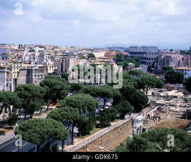 geography / travel, Italy, Rome, city view from Capitol towards Colosseum, Via dei Fori Imperiali, - Stock Photo