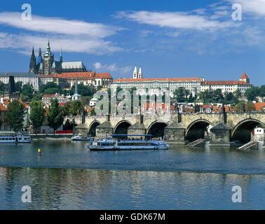geography / travel, Czech Republic, Prague, city view, Charles Bridge with river Vltava (Moldau), Hradcany, St, - Stock Photo