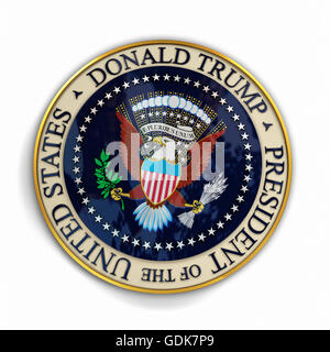 Illustration of presidential seal with Donald Trump's name on it. - Stock Photo