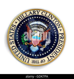 Illustration of presidential seal with Hillary Clinton's name on it. - Stock Photo