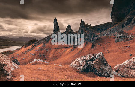 Rocky Martian Landscape on Earth - Summit of the Old Man of Storr - Stock Photo