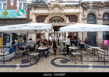 Café Majestic, art nouveau cafe with umbrellas, tavern, dining restaurant, Porto, District of Porto, Portugal, Europe, - Stock Photo