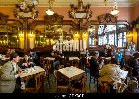 Café Majestic, art nouveau cafe, tavern, guests at tables, Panorama, Dining Restaurant, Porto, District of Porto, - Stock Photo
