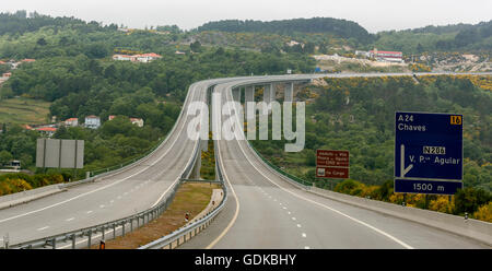 A24 motorway, highway bridge, Mondrões, tolls on the Portuguese highways, road sign, Mondrões, District of Vila - Stock Photo