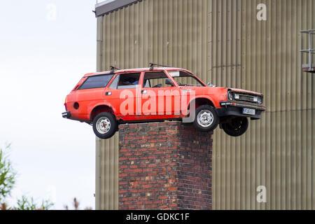 Badly Parked Car, Siding Road, Fleetwood, Nr Blackpool - Stock Photo