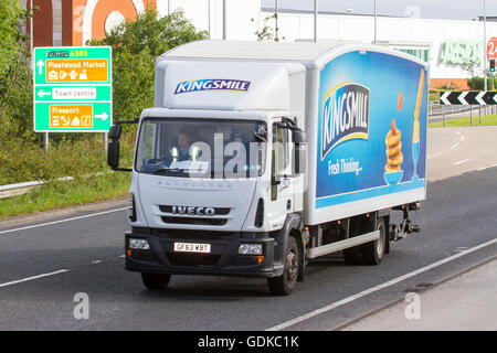 Kingsmill Bread products being delivered to Fleetwood in an Iveco Truck, Lancashire, UK - Stock Photo