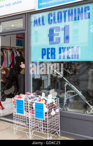 All clothing £1   Used clothes for sale in Fleetwood, Lancashire, UK - Stock Photo