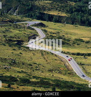 Sinuous road in Pyrenees, France, Europe - Stock Photo